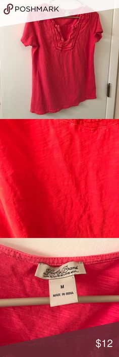 Lucky brand coral factory distressed tee Md Excellent condition Lucky Brand Tops Tees - Short Sleeve