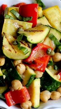 Grilled Asparagus, Zucchini, and Bread Salad with Olive-Caper Dressing ...