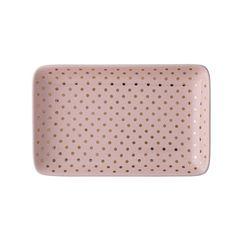 Bloomingville 12 x Pink Ceramic Golden Dots Rectangular Henrietta Tray - Trouva Stores, Objects, Tray, Concept, Ceramics, Modern, Pink, Design, Home Decor