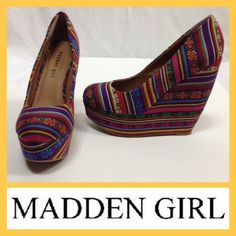 """Aztec Wedges Worn only once.  Madden Girl Craftty Aztec wedges.  Wedge only measures approx 5.5"""". Madden Girl Shoes Wedges"""