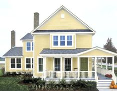 Exterior Paint Colors for House Exterior House Painting Ideas – Give Your Home the Complete Look Exterior Paint Colors for House. House painting does not mean only creating fabulous interiors… Yellow House Exterior, Exterior Paint Colors For House, Paint Colors For Home, Exterior Colors, Exterior Design, Exterior Shades, Gray Exterior, Paint Colours, House Paint Color Combination