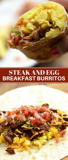 Steak and Egg Breakfast Burritos for the ultimate breakfast food! Loaded with grilled steak fluffy eggs fresh tomato salsa and cheese theyre hearty tasty and a delicious way to start the day! Seared Salmon Recipes, Grilled Steak Recipes, Pan Seared Salmon, Grilled Meat, Steak Breakfast, Breakfast Burritos, Breakfast Sandwiches, Chili, Best Breakfast Recipes