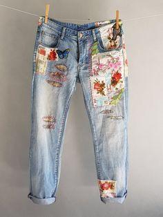 Joyce Concept Big Girls Indigo Blue Cut Up Denim Jean Size 7 8 10 12 14 16