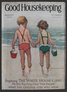 1929 Good Housekeeping Cover ~ Beach Kids ~ Jessie Willcox Smith, Vintage Magazine Covers