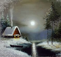 Very beautiful winter landscape animated card Winter Gif, Winter Scenery, Winter Pictures, Christmas Pictures, Christmas Scenes, Christmas Art, Landscape Pictures, Landscape Paintings, Beautiful Gif