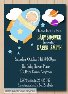 Outer Space Baby Shower Invitation, Rocket Baby Printable Invite, DIY  Digital Files.