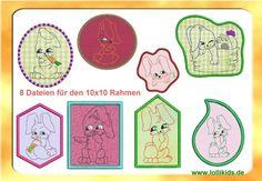 Stickdatei Stickmuster Ostern Doodle Applikation von lollikids auf DaWanda.com
