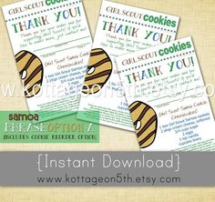 Girl Scout Cookie Thank You Cards Printable