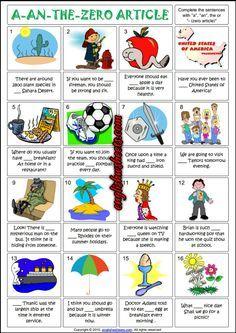 Articles ESL Printable Worksheets and Exercises Grammar Activities, Grammar Worksheets, Worksheets For Kids, Printable Worksheets, Writing Activities, Learning Resources, Grammar Chart, Grammar And Vocabulary, Article Grammar