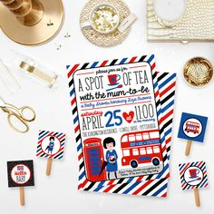 London England Baby Shower Invitation Spot of Tea with the Mum to Be - British Baby Shower Sprinkle Printable Invite Cupcake Toppers