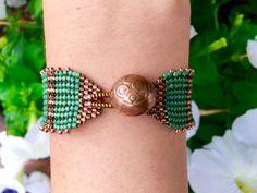 Herringbone weave cuff bracelet by ANecessaryIndulgence on Etsy