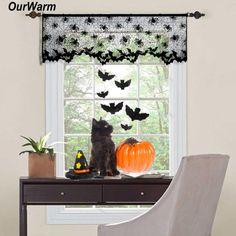 Ourwarm Halloween Vorhänge Schwarz Spitze Fledermaus Spiderweb Fenster  Vorhang Für Wohnzimmer Halloween Dekoration Partei Liefert 60
