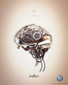 3D brain cool materials, cables, sci-fi