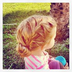 Toddler hairstyle: side braid into sock bun. Adorable! @Sarah Chintomby Smith Em's hair would look amazing like this!!!!