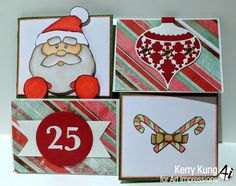 Art Impressions Rubber Stamps:  Santa Note-able (4512) handmade Christmas card.