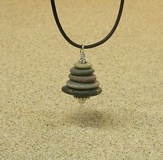 Lake Michigan Beach Pebble Cairn Pendant Necklace by StoneCairns