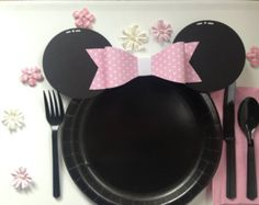 Minnie Mouse Minnie Mouse Birthday Minnie Mouse Decor Minnie Mouse Plates Girl Birthday Party Mickey Mouse Mickey Mouse Plates Pink & 12 DIY Mickey or Minnie Mouse Ears Die Cuts for Plates by Feisty ...