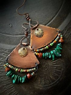 SPUNKYsoul Tribal Gold, Silver and Copper or Rose Gold Mixed Metal Boho Chic Ethnic Vintage Hoop Circle Fishhook Dangle Earrings for Women and Girls Gift Jewelry Bohemian Disc 2 Pack) – Fine Jewelry & Collectibles Copper Earrings, Leather Earrings, Copper Jewelry, Leather Jewelry, Beaded Earrings, Wire Jewelry, Jewelry Crafts, Jewelery, Handmade Jewelry