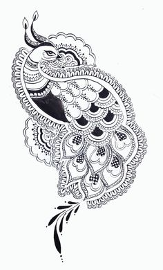 [Tattoo design commission, inspired by traditional henna patterns. Peacock Drawing, Peacock Tattoo, Peacock Art, Peacock Design, White Peacock, Indian Peacock, Madhubani Art, Madhubani Painting, Adult Coloring Book Pages