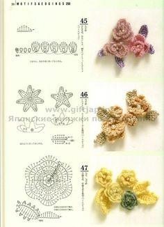 crafts books : 200 crochet motifs | make handmade, crochet, craft. Sito giapponise: decine di schemi di fiori e piastrelle di tutti i tipi.