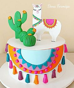 - - backen - first birthday cake-Erster Geburtstagskuchen First Birthday Cakes, Birthday Cake Girls, 2nd Birthday Parties, Deco Cactus, Cactus Cake, Mexican Birthday, Mexican Party, Idee Baby Shower, Fiesta Cake