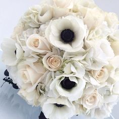 Bridal Bouquet: Anemones, Hydrangea and Roses
