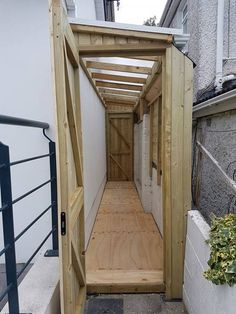 Timber framed lean to sheds Cabinteely, with polycarbonate sheeted roof and damp proof floors. Built to measure available space, closed in, with external gutters. Lean To Shed Plans, Diy Shed Plans, Shed Design, Patio Design, Garage Velo, Garden Storage Shed, Storage Sheds, Lean To Roof, House Extension Design