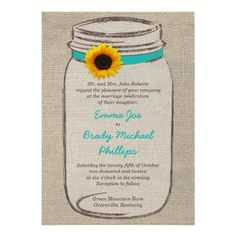 Mason Jar & Sunflower Wedding Invitation