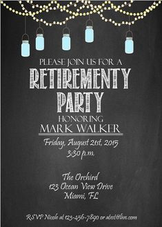 134 best retirement invitations images on pinterest printable retirement invitation custom invite chalkboard invite retirement invite diy christmas solutioingenieria Images