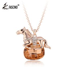 2017 New Horse Pendant Statement Necklace 4 Colors Crystal Animal Choker Necklace For Women Fashion Jewelry Collares (YL16040)