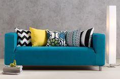 #Sofa #Klippan mit einem neuen Dress in knalligem Petrol
