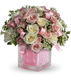 16 best new baby gift flower ideas images on pinterest flower crystal block new baby girl flowers negle Images