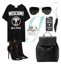 """""""Senza titolo #350"""" by lady-cherries00 ❤ liked on Polyvore featuring Moschino, Lipsy, Topshop, MANGO and Ray-Ban"""
