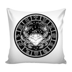 CANCER Zodiac Pillow Cover White by ProsperousJewels on Etsy