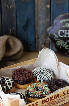 assortment of yummy donuts Delicious Donuts, Yummy Food, Just Desserts, Dessert Recipes, Cupcakes, Aesthetic Food, Donut Recipes, Eat Dessert First, Macaron