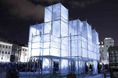 Designed & directed by Iceland based architect Marcos Zotes & his studio UNSTABLE, their Pixel Cloud installation was the winning competition entry for the Reykjavik Winter Lights Festival 2013 Temporary Architecture, Light Architecture, Architecture Design, Eric Wolf, Iceland Trekking, Urban Sport, Temporary Structures, Cloud Photos, Scaffolding