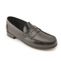 Penny 2 - Black High Shine Leather - these slip-on boys school shoes are long-lasting, stylish and practical