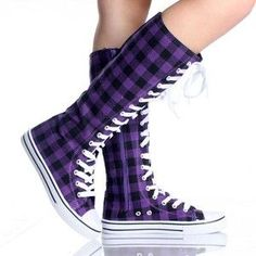 Black Purple Canvas Lace Up S ...