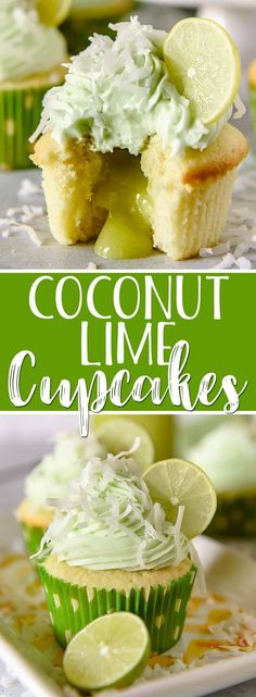 These Coconut Lime Cupcakes are the sweet-tart springtime treats of your dreams and perfect for lovers of the tropics! Fluffy coconut-infused cupcakes are stuffed with tangy key lime curd then topped with a crown of lime cream cheese buttercream and a s Coconut Lime Cupcakes, Key Lime Cupcakes, Tropical Cupcakes, Sprinkle Cupcakes, Cherry Limeade Cupcakes, Köstliche Desserts, Delicious Desserts, Cupcake Recipes, Cupcake Cakes