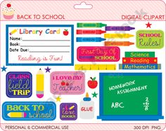 FREE Back To School Clipart product from Digital-Bake-Shop on TeachersNotebook.com