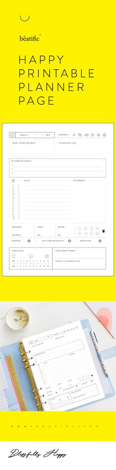 Happy Printable Planner is your simple tool helping you focus on what really matters in your life, based on a scientific positive psychology research you will practice living a more positive, blissfully happier fulfilled life by cultivating the power of gratitude, positive thinking, healthy mindfulness, and self-development.