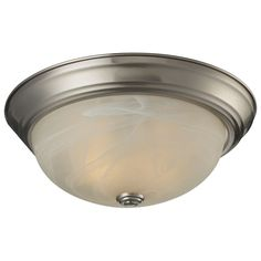 Simple yet clean lines combined with a brushed nickel finish and a white swirl shade give this dual light ceiling lamp a sleek appearance. Update your decor with this stylish fixture.