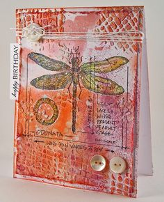 Suzz's Stamping Spot, Dragonfly, Stampers Anonymous, Birthday Card, Memory Box