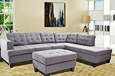 Merax 3-piece Reversible Sectional Sofa with Chaise and Ottoman, Suede Fabric / 6 pillows , Grey (Grey)
