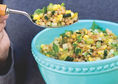 Corn, Zucchini And Pearl Couscous With Coriander Recipe