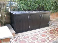 Contemporary Garden Bin & Recycling Stores - Essex UK, The Garden Trellis Company Recycling Storage, Bike Storage, Storage Bins, Storage Ideas, Garden Sheds Uk, Garden Cabins, Garbage Shed, Garbage Can Storage, Outside Storage