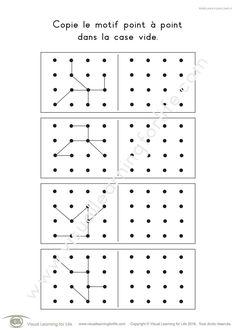Dans les fiches de travail « Motifs point à point (4x4) » l'élève doit copier le design point-à-point dans la case vide.