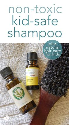 Want to keep your kids scalp and skin safe from unnecessary toxins? Here's what I do for non-toxic hair care for kids, as well as a kid-safe shampoo recipe that's easy to make yourself! #DIY #shampoo #nontoxic #kidsafe #essentialoils