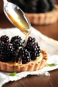 Blackberry goat cheese tarts with honey