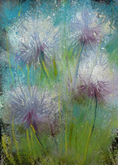 Dandelions  5x7 Original Monotype with pastel by Karen Margulis